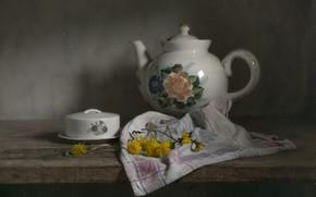 Картинка полотенце, чайник, одуванчики
