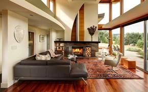 Картинка интерьер, камин, гостиная, Modern Rural Residence