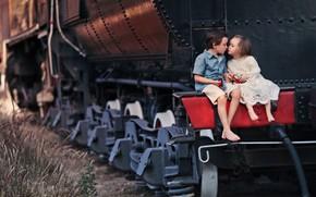 Картинка дети, паровоз, поцелуй, мальчик, девочка, парочка, Larisa Korsikova