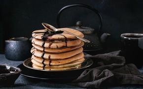 Картинка завтрак, блины, сироп, шоколадные, Natasha Breen