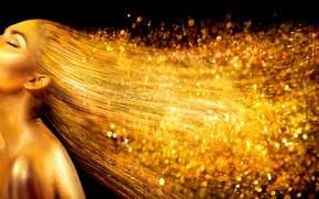 Картинка девушка, фон, золото, черный, макияж, фотомодель, Анна Субботина