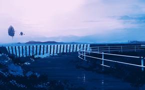Картинка море, небо, фантастика, объект, парит