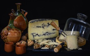 Картинка сыр, посуда, орехи, плесень