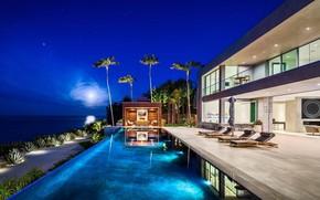 Картинка город, вилла, вечер, бассейн, House in Malibu