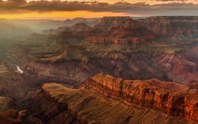 Картинка горы, скалы, склоны, вид, высота, дымка, США, рельеф, каньоны, Гранд-каньон