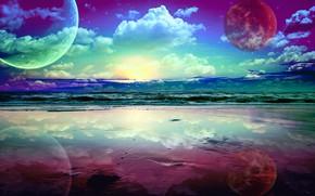 Картинка небо, океан, краски, яркие, планеты