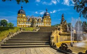Картинка небо, солнце, облака, деревья, дизайн, Германия, лестница, ступени, фонтан, дворец, скульптуры, Memmelsdorf, Seehof Palace