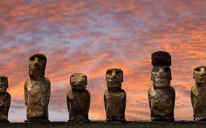 Картинка остров Пасхи, статуи, Чили, Национальный парк Рапануи, Аху Тонгарики, Моаи