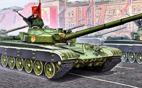 Картинка СССР, основной боевой танк, Красное Знамя, Т-72Б, Гвардия, 12.7-мм НСВТ, Холодная война