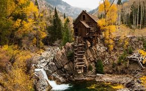 Картинка осень, река, Crystal Mill
