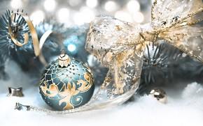 Картинка зима, фон, праздник, новый год, шар, ветка, лента, Anya Ivanova