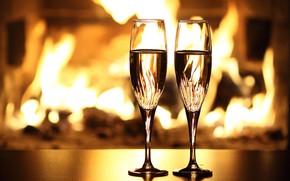 Картинка огонь, праздник, бокалы, камин, шампанское
