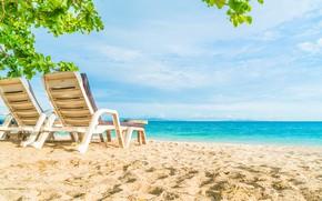 Картинка песок, море, волны, пляж, лето, шезлонг, summer, beach, sea, blue, sand, wave