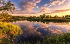 Картинка лето, небо, закат, природа, река, Aleksei Malygin