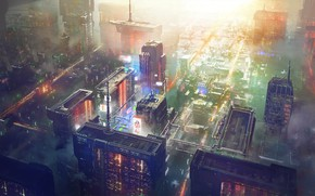 Картинка Big City, Concept Art, Science Fiction, Cyberpunk, SciFi, Concept Design, sctructure