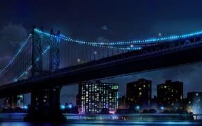 Картинка небо, ночь, мост, огни, небоскребы