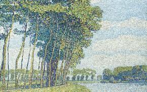 Картинка пейзаж, картина, пуантилизм, Пауль Баум, Деревья у Канала, Paul Baum