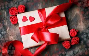 Картинка подарок, лента, сердечки