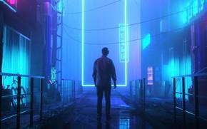 Картинка Ночь, Неон, Человек, Стиль, Мужчина, Style, Night, Фантастика, Neon, Fiction, Future, Рендеринг, Rendering, Illustration, Concept …