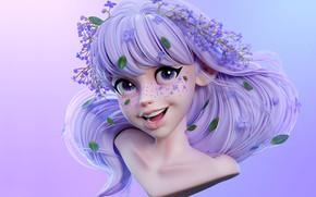 Картинка улыбка, фентези, арт, девочка, веснушки, детская, Сиреневый девочка, ШИН МИН ЧЖОН