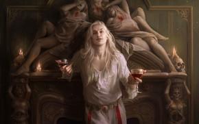 Картинка поза, женщина, череп, камин, Spellbinding terror