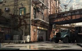 Картинка транспорт, двор, лужи, автомобиль, Автокран Краз
