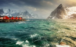 Картинка Lofoten Islands, Hamnoy, Windy morning