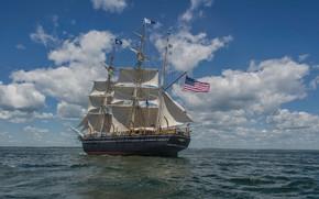 Картинка Флаг, Парусник, Паруса, Мачта, Китобойное судно, CHARLES W. MORGAN