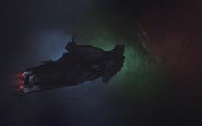 Обои Звезды, Космос, Корабль, Art, Фантастика, Battleship, Dmitrii Ustinov, by Dmitrii Ustinov, Space Battleship, SpaceArt