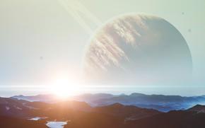 Картинка Солнце, Горы, Планета, Космос, Вид, Свет, Light, Юпитер, Арт, Space, Блик, Art, Planet, Sun, Mountains, …