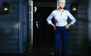 Обои маска, Halloween, тыква, Хэллоуин, jason, Jamie Lee Curtis, Laurie Strod, Джейми Ли Кёртис