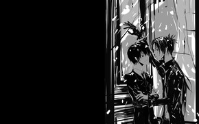 Картинка парни, монохромная, Katekyo Hitman REBORN, Учитель мафиози Реборн