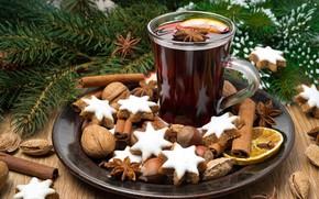 Картинка чай, елка, Новый год, орехи, корица, выпечка