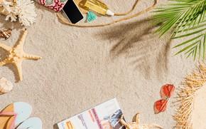 Картинка песок, пляж, лето, отдых, отпуск, шляпа, очки, ракушки, summer, happy, beach, каникулы, sea, sand, vacation, …