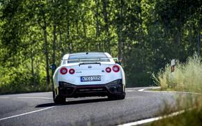 Картинка белый, Nissan, GT-R, задом, R35, Nismo, 2020, 2019