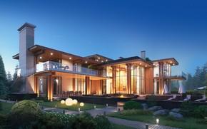 Картинка фонари, дорожка, зонты, строение, Visualization of the Villa
