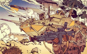 Картинка Дым, Война, Солдаты, Армия, Солдат, Оружие, Боец, Art, Техника, War, Smoke, Army, Weapons, Атака, Soldier, …
