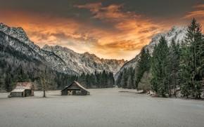 Картинка зима, горы, дом