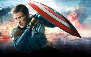 Картинка герой, костюм, мужчина, битва, щит, Marvel, Капитан Америка, Мстители, Avengers, Chris Evans