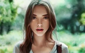 Картинка Девушка, Губы, Лицо, Girl, Волосы, Глаза, Портрет, Beautiful, Красотка, Eyes, Красивая, Face, Lips, Portrait, Pretty, …