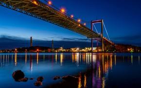 Картинка ночь, мост, огни, река, камни, берег, дома, фонари, Швеция, Gothenburg
