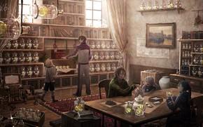 Картинка стол, люди, лавка, магазин, полки, товары
