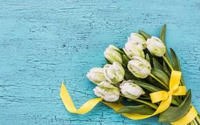 Картинка фон, голубой, лента, тюльпаны, белые, wood