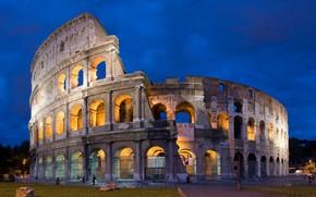 Картинка ночь, огни, Рим, Колизей, Италия