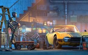 Картинка Робот, Машина, Стиль, Фон, Гараж, Автомобиль, Арт, Art, Render, Robot, Style, Фантастика, Machine, Background, Рендеринг, …