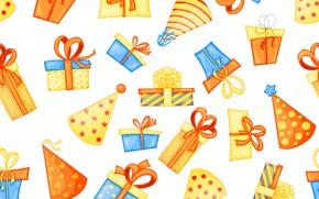 Картинка фон, подарки, День рождения, бесшовный