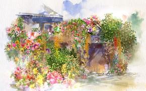 Картинка цветы, дом, акварель, живопись
