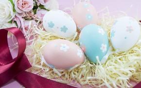 Картинка Цветы, яйца, Пасха, сено, Праздник