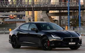 Картинка Maserati, Quattroporte, вечер, 2018, GTS, AU-spec, GranSport, Nerissimo Edition