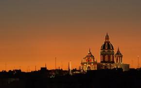 Картинка ночь, огни, собор, Мальта, Валетта